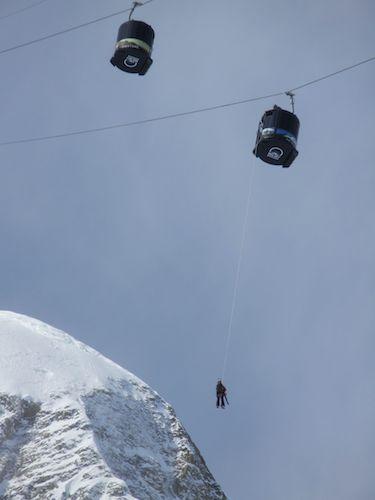 Ski Patrol doing lift evac drills at Big Sky.
