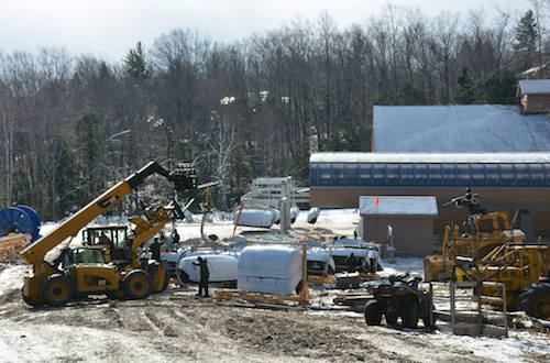 Construction continues on  The Sunburst Six, Okemo's new bubble lift.