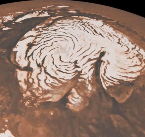 Mars Polar Ice Cap.  Photo from NASA