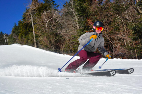 Skiing in soft snow. Photo from Okemo Mountain Resort