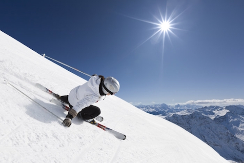 Skiing in the sun.  Photo from StratosphereNetworking.com