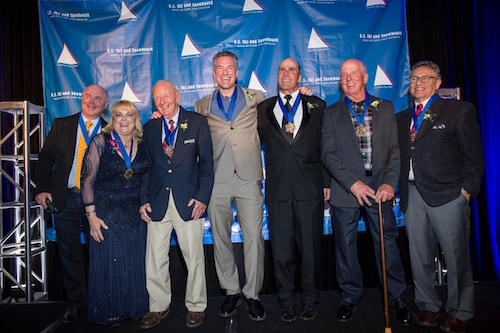 US Ski & Snowboard Hall of Fame, Class of 2015 Left to right: Lessing Stern, son of honoree Edgar Stern*, Genia Fuller Crews, Henry Kaiser, Chris Klug, Bob Salerno, Jim Martinson, David Ingemie *Edgar Stern passed away October 12, 2008 Photo courtesy of the US Ski and Snowboard Hall of Fame