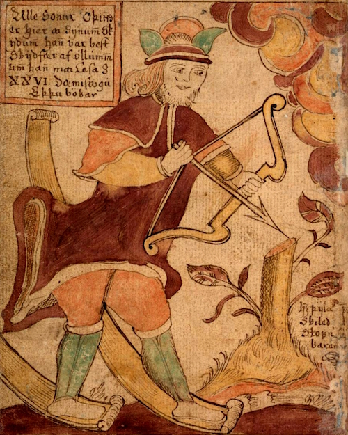 Ullr, from an 18th century Icelandic manuscript.