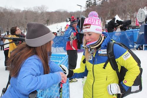 Here I am talking to Swiss racing phenom Lara Gutt.