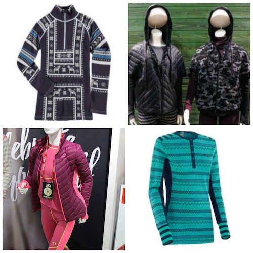 Clockwise from top left: Krimson Klover Mikaela Top, SmartWool Urban Upslope Poncho, Kari Traa Akle LS Top, and Kari Traa Svala Jacket
