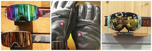 L to R: Giro Ella Women's Goggles, Seirus HeatTouch Hellfire Gloves, Zeal Portal Goggle