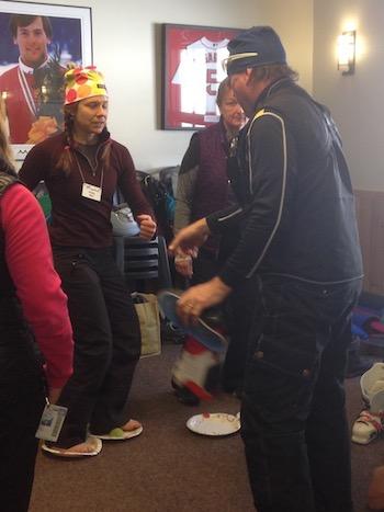 Ski School Director Terry Barbour explains rotation.