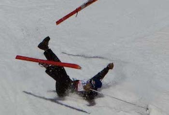 Is this skier Fighting a Yeti?