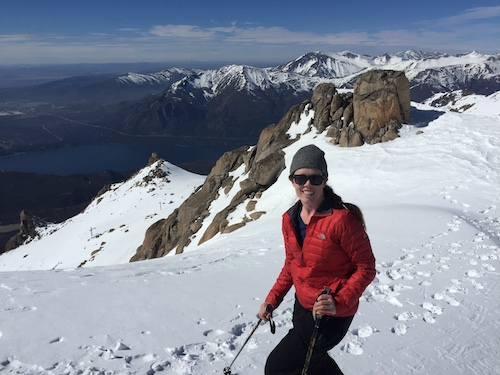 Laura backcountry skiing  outside of Cerro Catedral resort in Bariloche, Argentina