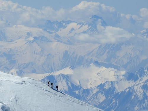Chamonix, France - Hikers coming down off of Mt. Blanc