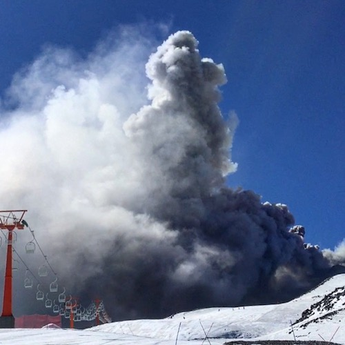 Las Trancas, Chile - Volcanic eruption on the mountain while skiing.