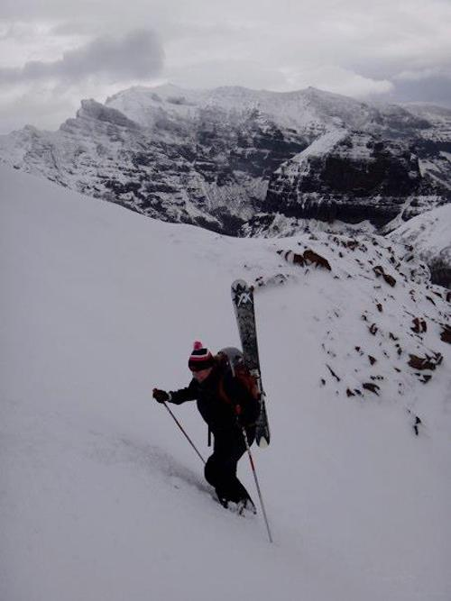 Meegan hiking for turns in Chile.