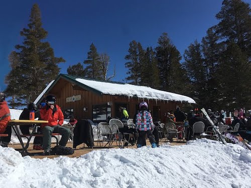 We at lunch outdoors mid-mountain at Stew Pot Slim's